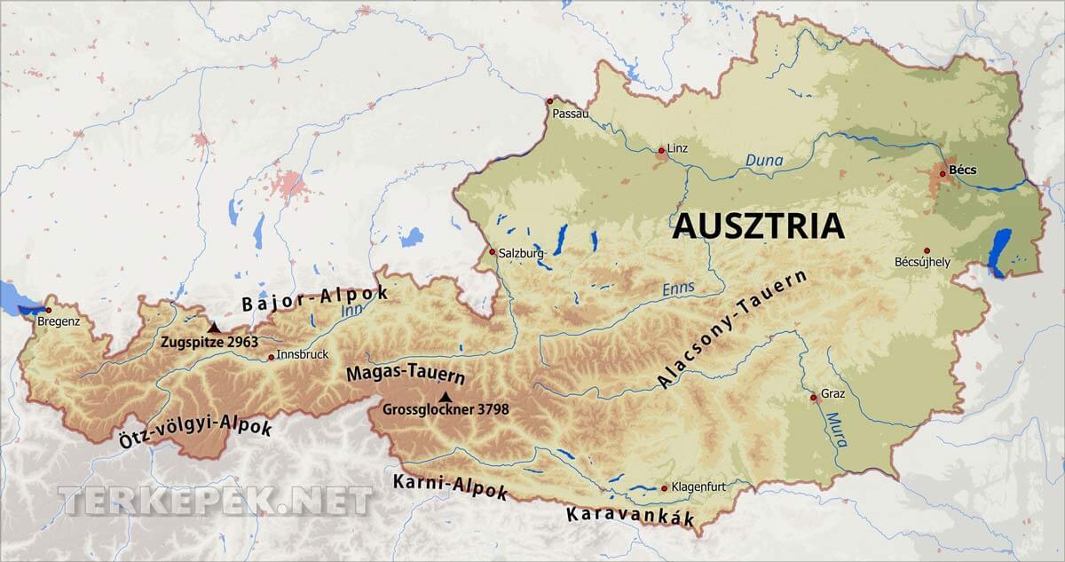 ausztria domborzati térkép Ausztria térképek ausztria domborzati térkép